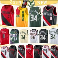 cj jersey venda por atacado-Giannis 34 Antetokounmpo Milwaukee Jersey Bucks Blazer Damian 0 Lillard CJ 3 McCollum novos homens jerseys basketabll