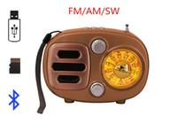 usb şarj edilebilir hoparlörler toptan satış-Retro Stil Şarj edilebilir Bluetooth Kablosuz Hoparlör FM / AM / SW Radyo Alıcısı Taşınabilir Mini Radyo Destek USB TF Kart AUX-in