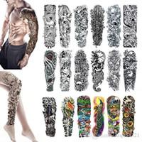 tatouages d'anges achat en gros de-Manchette à manches longues Tatouage Tatouage temporaire imperméable Autocollant Crâne Ange rose lotus Hommes Pleine Fleur Tatoo Autocollants Bikini pour la plage en été