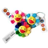 Wholesale sunflower accessories resale online - 8 cm Velvet Rainbow Sunflower Japan Murakami Takashi plush flower bag Pendants Bag accessories