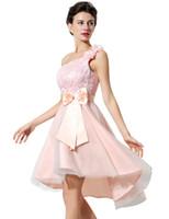Wholesale convertible pastel dress resale online - 2020 New Real Image Pink One Shoulder Homecoming Dresses Lace Flower Appliques Hi Low Designer Occasion Dresses