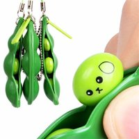 Wholesale girls toy keychain photos resale online - New Creative Extrusion Pea Bean Soybean Edamame Stress Relieve Toy Keychain Cute Fun Key Chain Ring Paty Gift Bag Charms Trinket