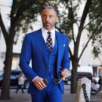mens royal azul novio esmoquin al por mayor-Nuevo vendedor caliente de un botón Royal Blue Groom Tuxedos Peak Lapel Padrinos de boda para hombre de bodas Negocios trajes de baile (chaqueta + pantalón + chaleco + corbata) 245
