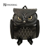 Wholesale cool fashion school bags for sale - Group buy Hjphoebag Fashion Women Backpack Newest Cool Black Pu Leather Owl Backpack Female Hot Sale Women Shoulder Bag School Bags A07 Y19051502