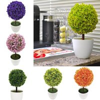 Wholesale plastic topiary trees resale online - Ball Topiary Mini Artificial Tree Home Decor Plant Pot Ornament Potted Plastic