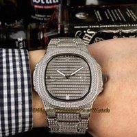 тяжёлый случай оптовых-Лучшее издание Super Jumbo Nautilus 5719 / 10G-010 полностью вымощено корпусом с бриллиантами Швейцарские кварцевые мужские часы Стальные мужские часы с бриллиантовым ремешком 316L Мужские часы