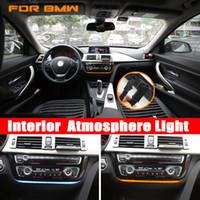 farol corolla venda por atacado-Azul e cor de laranja de controle central de rádio painel guarnição Para BMW Série 3 / 3GT / M3 / M4 2012-2018 Interior Atmosfera Luz