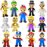 bros oyuncakları toptan satış-Süper Mario Bros Çocuk hediyeleri Super Mario Peluş Oyuncak 50pcs RRA2082 için Luigi Mario Peluş Oyuncak Yumuşak Doldurulmuş Anime Bebekler Standı