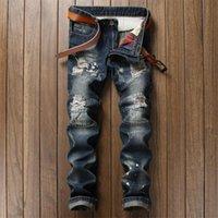 ingrosso jean stile sottile-All'ingrosso Nuovo distrutti slim fit Mens Blue Jeans strappati, pantaloni di qualità marchio di abbigliamento dell'UE Stile Mid banda Moto Jeans Patchwork Men