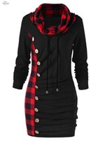 fall tuniken großhandel-Plaid Drawstring Tunika-Kleid-weibliches beiläufiges Sweatshirt-Mantel-Hauben-Ansatz-langes Hülsen-Kleid-Winter-Fall-Entwerfer-Kleidung