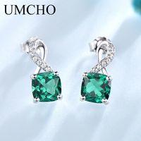 ingrosso orecchini di smeraldo-UMCHO Emerald Gemstone orecchini di goccia per le donne genuini 925 orecchini monili romantici monili alla moda regalo