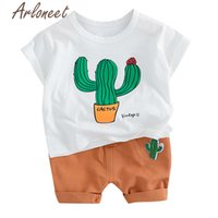 Wholesale baby beach outfits for sale - Group buy ARLONEET Clothes baby boys cartoon T shirt Cactus shorts boys funny kids tops beach shirt Summer Toddle boy Outfits