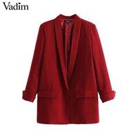 ofis giyim topları toptan satış-Vadim kadınlar chic siyah kırmızı blazer cepler tek düğme uzun kollu ofis giyim ceket katı kadın casual giyim CA330 tops