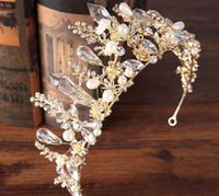 ingrosso copricapo della perla della principessa-Sposa Crystal Crown Princess Strass Crown Headdress Gold Bride Pearl Crown Tiara Baroque Hair Hoop Accessori per matrimoni Gioielli