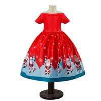 ingrosso vestiti da cerimonia nuziale di natale verde-Toddler Baby Girl Christmas Dress Off Shoulder Short Sleeve Santa Claus Party Princess Wedding Formal Dresses Red Green 2-10Y