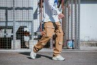 büyük erkekler kargo pantolon toptan satış-Erkek Bahar Yeni ss19 Kargo Pantolon Büyük Cepler Casual Hiphop Kaykay Düz Gevşek Pantolon
