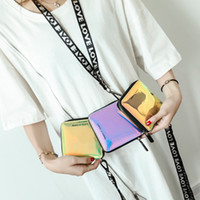 Wholesale cute woman ladies wallet online - Creative Short Holographic Laser Wallet Fashion Lady Mini Zipper Hanging Wallets Cute Small Card Holder Coin Purse LJJT478
