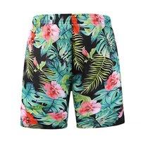 plaj pantolon desen toptan satış-Plaj Pantolon erkek Tasarımcı Şort Rahat Marka Erkek Çabuk kuruyan Pantolon Moda Çiçekler Desen Diz Boyu ile Yaz Kısa Pantolon
