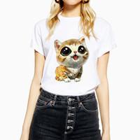 turuncu tişört bebek toptan satış-KMOGOER Bebek Kedi Kawaii T Gömlek Pamuk O-Boyun kadın Turuncu Kitty T-Shirt Baskı Rahat Kısa Kollu Harajuku Tshirt Streetwear