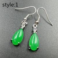 grüne jade china großhandel-100% natura china bisuteria top titanium stahl schmuck vintage retro grüne jade große ohrringe für frauen