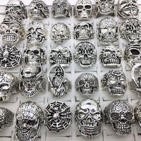 Wholesale bikers style silver rings resale online - Mix Styles Silver Metal Alloy Mens Womens Gothic Skull Skeleton Rings Punk Biker Fashion Jewelry