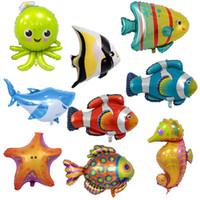 ingrosso luci di polpo-Shark Octopus Balloon Seahorse Animal Shape Palloncini Kid Alluminio Pellicola Airballoon Thin And Light Multipl Stili 2 4lm C1