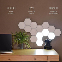 Wholesale led lights walls resale online - White DIY Quantum Lamp LED Touch Sensor Night Lights LED Hexagon Light Magnetic Modular touch Wall Lamp Creative lights