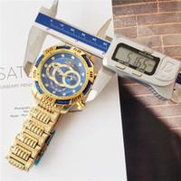 invicta relógios de luxo homens venda por atacado-193B Marca suíça INVICTA LOGOTIPO Muito Grande Mostrador Rotativo Super Qualidade Homens Relógio De Luxo Da Marca de Aço De Tungstênio Multifunções Relógio De Quartzo De Ouro