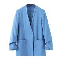 blazers para mulheres cor azul venda por atacado-WT221 Mulheres V Neck Wrinkle Manga Blazer Cor Azul Outono Chic Outwear Blazers Tops