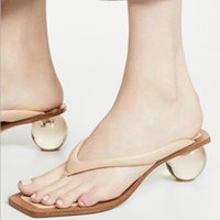 Wholesale tongs resale online - Rome Clear Ball Heels Flip Flops Women Slippers Sexy Tong Femme Summer Slides Chanclas Mujer Casual Beach Shoes Sandales Femme
