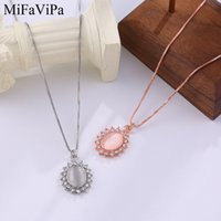 Wholesale cat pendant rose gold resale online - MiFaViPa Jewelry Cat Eye Color Necklace Female New Japanese and Korean Clavicle Chain Simple Rose Gold Color Temperament Necklace