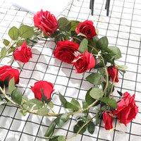 rosa quente rosa flor artificial venda por atacado-Venda de 1,8 m Hot Artificial Rose Vine alta qualidade Rosa Vermelho Branco Silk Flower Garland Início Wedding Decoração graduação
