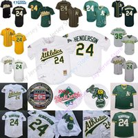 ingrosso baseball henderson-Rickey Henderson Jersey Hall Of Fame Patch 1990 Atletica leggera WS World Series 2009 HOF Hall Of Fame Oakland Cooperstown Bianco Giallo Verde