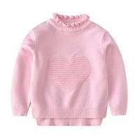gola alta de algodão para crianças venda por atacado-3 4 5 6 7 Anos Menina Blusas de Algodão Outono Inverno Tricô Tops Amor Imprimir Gola de renda Gola Alta Crianças Camisola Criança Pullover