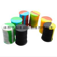 contenedor de aceite de silicona al por mayor-Frasco de contenedor de barril de aceite de silicona Aceite de vaporizador de cera Dab forma del tambor de goma Caja de almacenamiento 11 ml de gran calidad alimentaria de silicona hierba seca a base de hierbas