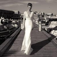 Wholesale gold wedding dresses long sleeves resale online - 2019 Mermaid Beach Wedding Dresses Sexy Deep V Neck Illusion Long Sleeves Lace Applique Cheap Bohemia Bridal Gowns Wedding Dress