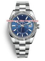 relojes al por mayor-8 Estilo Top ventas de calidad superior 42 mm Sky-Dweller GMT Workin 326934 326933 326938 Fecha Acero Asia 2813 Movimiento Reloj automático para hombre Relojes
