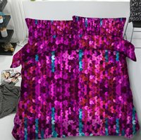 ingrosso set biancheria da letto viola scuro-3PCS 1SET paillettes Quilt Cover pezzi paillettes federa 1pcs Quilt Cover Sparkly paillettes Fancy moderna Quilt Cover LJJK2008 viola