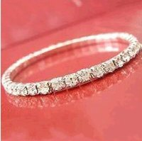 Wholesale jewelry row for sale - Group buy 2019 Sparkle Women Prom Party Dresses Wear Elastic Row Sliver plated Crystal Bangle Bridal Bracelets Party Jewelry