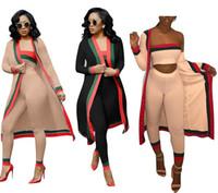 bodysuit kostüm kadınlar toptan satış-2018 Yeni Varış Siyah Çizgili 3 Parça Setleri Rahat Kıyafetler Uzun Pelerin Straplez Tulum Bodysuit Kadın Giyim Setleri Kostümleri