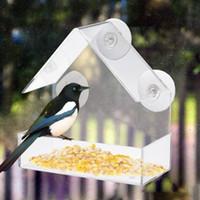 kuş evleri toptan satış-Yeni Akrilik Şeffaf Ev Pencere Kuş Besleyici Birdhouse Kuş Besleyici Aksesuar