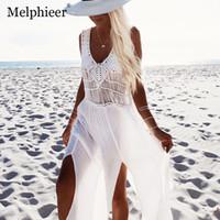 falda blanca traje de baño mujer al por mayor-White Beach Wear Cover Up Bikini 2018 traje de baño atractivo vestido de las mujeres falda traje de baño de ganchillo niñas Hollow Cover Ups traje de baño J190718