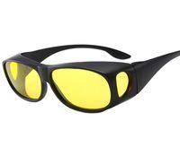 Wholesale yellow sunglasses night resale online - HD Night Vision Driving Sunglasses Men Yellow Lens Over Wrap Around Glasses Dark Driving Protective Goggles Anti Glare set box pair