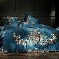 roupa de cama roxa de algodão egípcio venda por atacado-Azul Vermelho Roxo 100 S Algodão Egípcio Bordado De Ouro de Luxo Europeu Conjunto de Cama Palácio Capa de Edredão Folha de Cama / Fronhas De Linho
