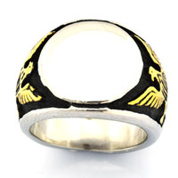 Wholesale spirits gift resale online - FANSSTEEL Stainless steel punk vintage mens or womens jewelry Engravable Signet spirit eagle Ring GIFT FOR BROTHERS SISTERS FSR07W39G