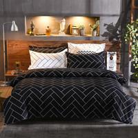 conjuntos de cama de solteiro preto branco colcha venda por atacado-Preto e branco Twin Queen King capa de edredão conjuntos 3 pcs um conjunto conjunto de cama de microfibra capa colcha