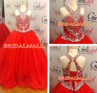 Wholesale corset birthday party resale online - Beaded Crystals Red Tulle Baby Girls Pageant Dresses Halter Neck Children Birthday Dress Corset Back Little Kids Formal Party Gowns