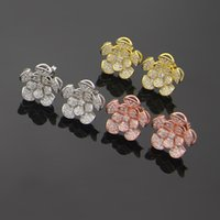 Wholesale flower shaped earrings studs resale online - New high quality fashion brand titanium steel earrings fan shaped flower earrings skirt petal earrings for fashion lovers gifts