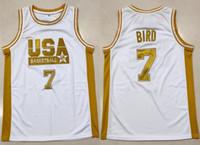 ingrosso pullover di basket usa-Larry Bird # 7 Dream Team USA Maglia da basket retrò da uomo con cucitura personalizzata Qualsiasi numero Nome maglie