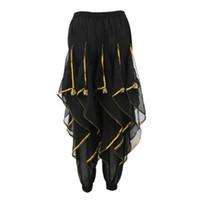 trajes de danza del vientre negro al por mayor-Pantalones de danza del vientre para mujer Pantalones de harén tribales holgados árabe Halloween Disfraces Negro